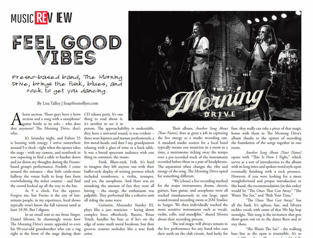 We took a cab home one night, chatted about music and discovered our driver writes for Fresno Flyer. Then they featured us on their September 2018 issue for a review of our debut album and live show. Lisa did an excellent job capturing the essence of what TMD always strive to bring to the table.