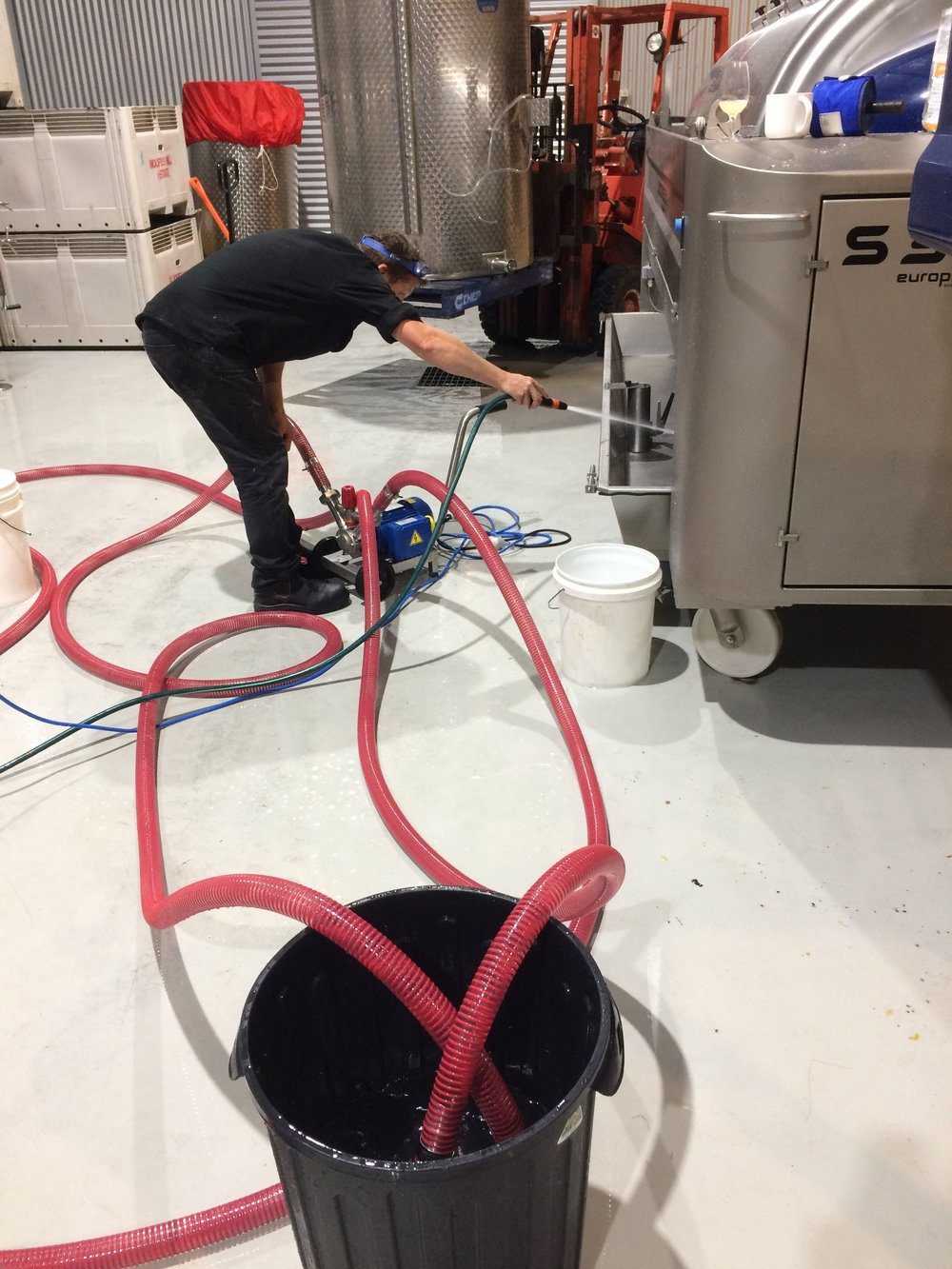 What they don't tell you at winemaker school: winemaking is really 70% cleaning, 10% moving hoses and pumps around, 10% forklift driving. You do the maths.