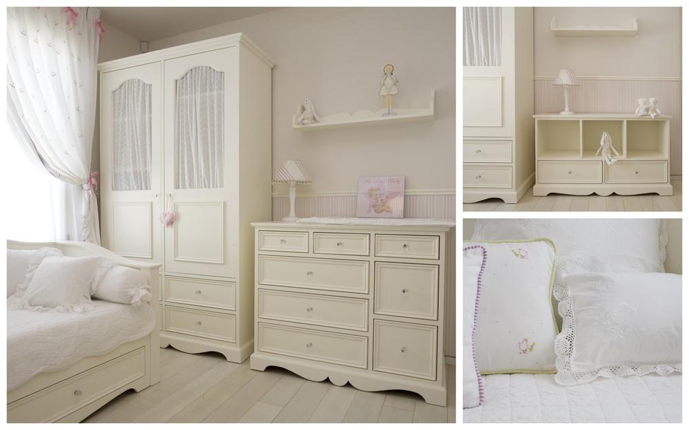 החדר הלבן בסגנון פרובאנס מיטת ספה מהודרת וארון מסוגנן,כולל מצעים לבנים רקומים ועדינים