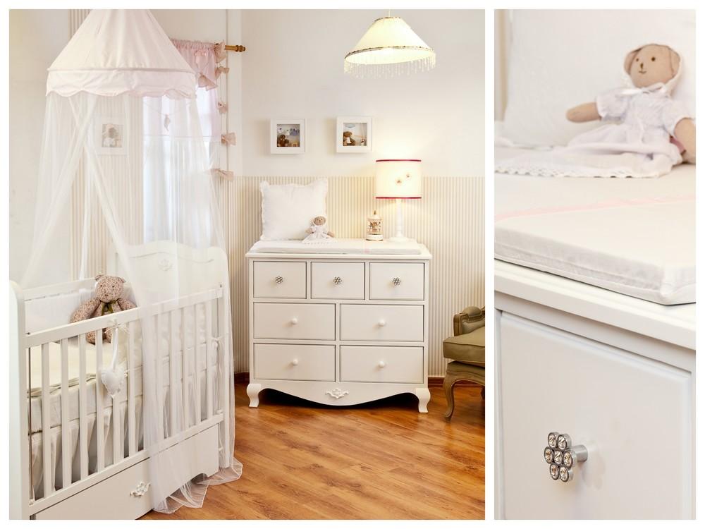 חדר אלכס עם מיטת תינוק ושידת החתלה מיוחדות,כורסא רכה וידיות קריסטל מיוחדות