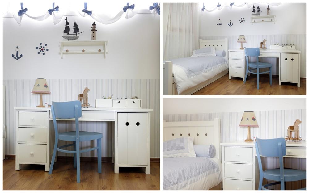 חדר רב חובל – בהשראה ימית של חלונות האוניה. מיטת נוער נפתחת למיטת אורח בקו כפרי נקי ושולחן כתיבה רחב עם הרבה מקום לאחסון