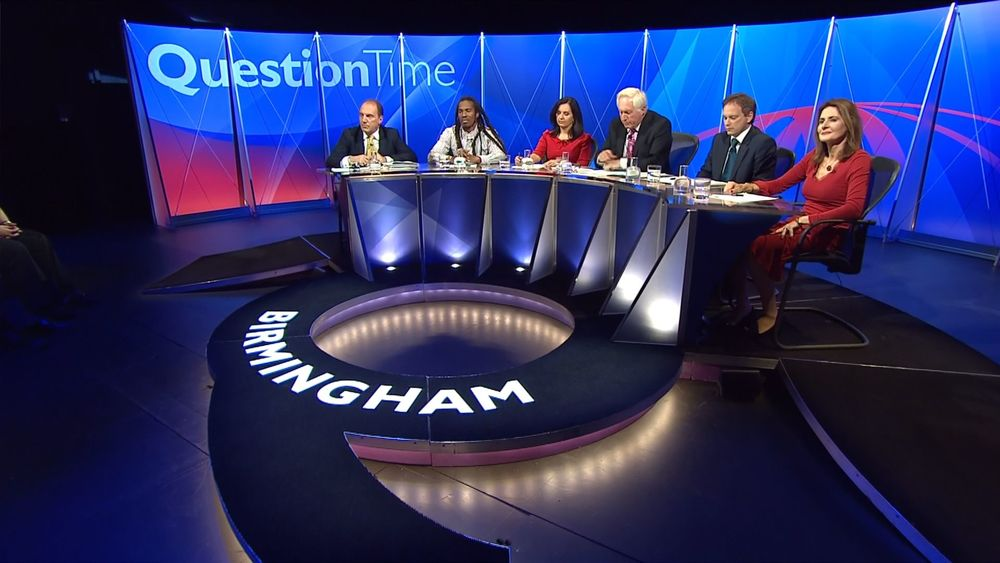 A Question Time broadcast from Birmingham, 9 October 2015.Panel (L to R): Simon Hughes MP, poet Benjamin Zephaniah, Caroline Flint MP, chair David Dimbleby, Grant Shapps MP and journalist Christina Odone.