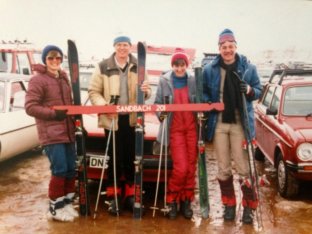 My parents and their friends the Stubbses on their first, foolhardy trip to Glenshee. Note the lack of warm and waterproof clothing. And the smiling faces, which suggest that they haven't been further than the car park.