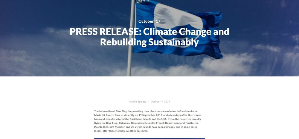 PRESS RELEASE: Climate Change and Rebuilding Sustainably