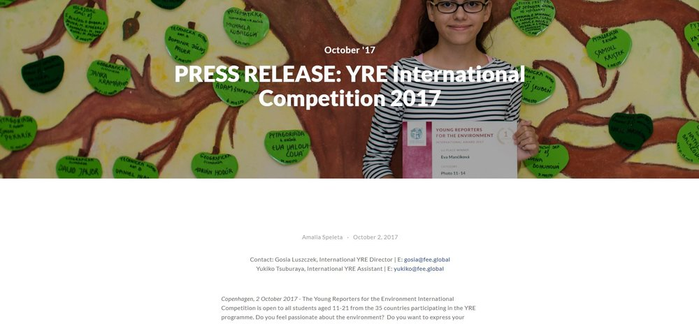 PRESS RELEASE: YRE International Competition 2017