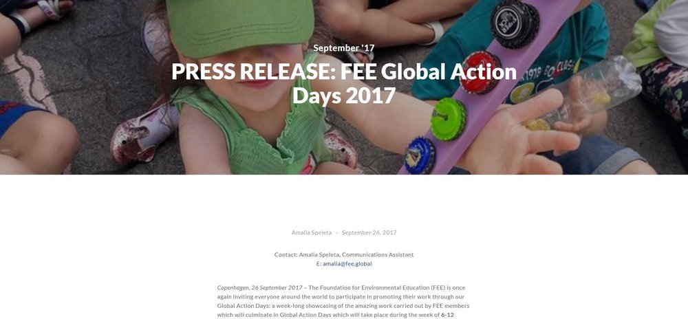 PRESS RELEASE: FEE Global Action Days 2017