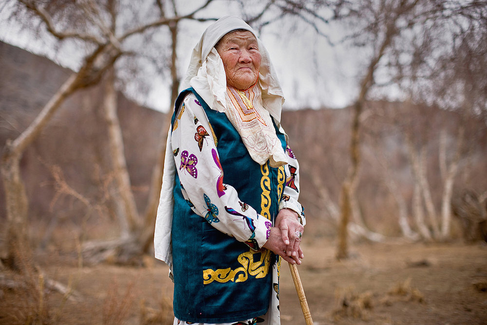 Although traditions and practices are very important and respected by the Kazakh people of Mongolia, they are increasingly diluted by outside influences. The traditional headscarf pictured here is now only seen on the most elderly of Kazakh women. Bayan-Ölgii, Western Mongolia. 2012.