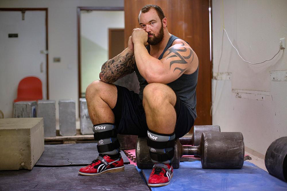 """Hafthór Júlíus """"Thor"""" Björnsson, Iceland's Strongest Man.Jakaból Gym,Reykjavík, Iceland. 2010."""