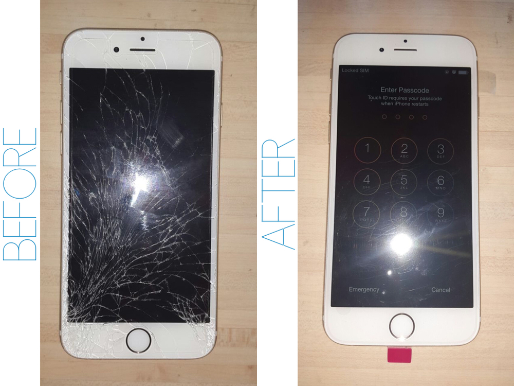 Here Is A Before And After Pic Of An IPhone Repair We Did On 6 This Past Week Screen Transformed It To Look Brand New
