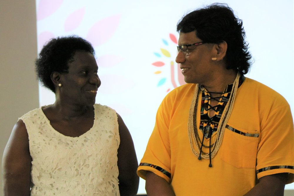Left to right: Lucely Morais Pio (leader of the Quilombola Community of Cedro and current National Steering Committee Leader) and Srewe Xerente (Indigenous leader of indigenous peoples of the Cerrado region and former National Steering Committee leader).
