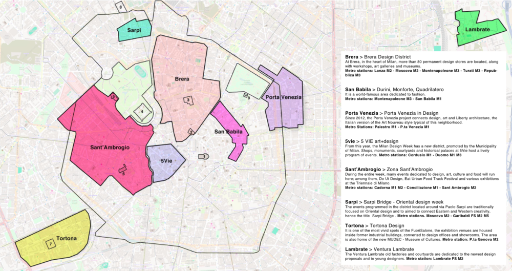 Milan Design Week districts.