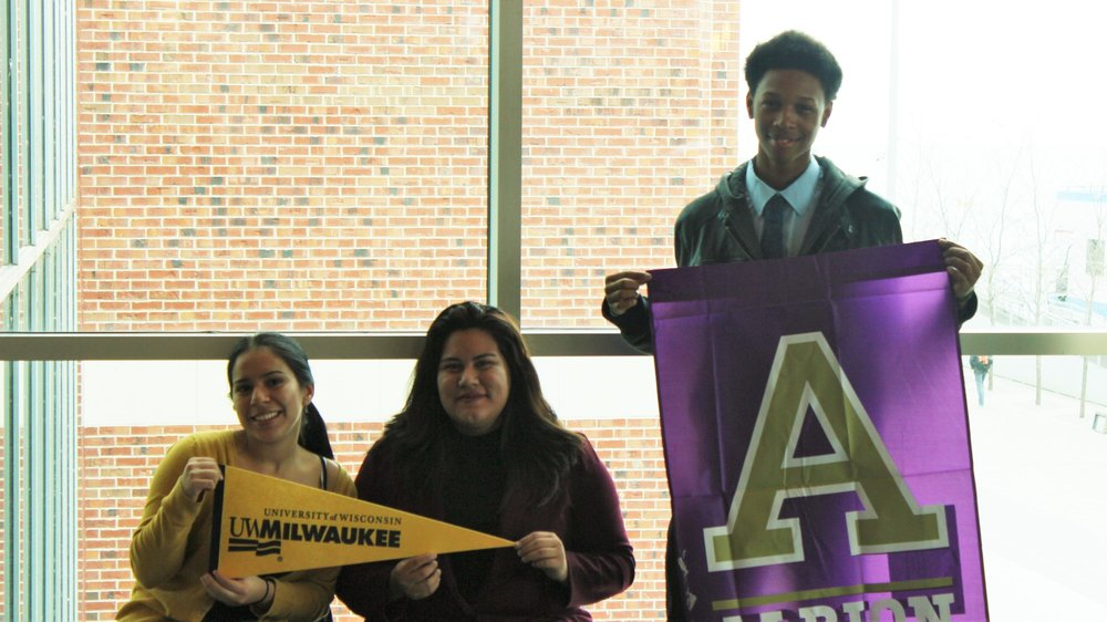 "Trevaleyus Harris, Ariell Alejandra, Yesenia Puebla, Prosser Career Academy Colleges interviewed with: Albion, Michigan State University, Nebraska, NIU, EIU ""We're all first-generation college students, or will be soon. If I can tell a young person where I'm from what to do, I'd say persevere, follow your dreams, and don't ever let someone tell you that you have a limit. We are limitless. This fair lets me know that I'm limitless."" – Trevaleyus Harris (Just received a near full-ride to Albion)"