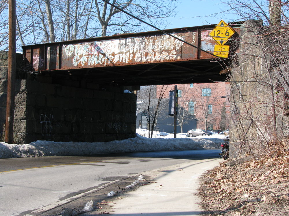 The Bartlett Street Railroad Overpass presents some unique hazards in the late winter/early spring.