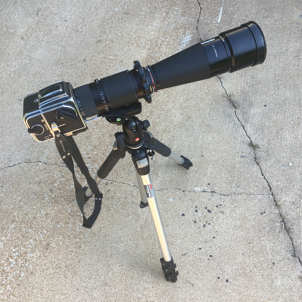 Here's the set-up minus the Solar Filter.  Be sure to use a sturdy tripod as the Sun will be high and  if like me you are tall you will want to the tripod set up at it's highest height.  I also used a really sturdy ball head, but am considering using a 3 axis geared head to eliminate any movement.