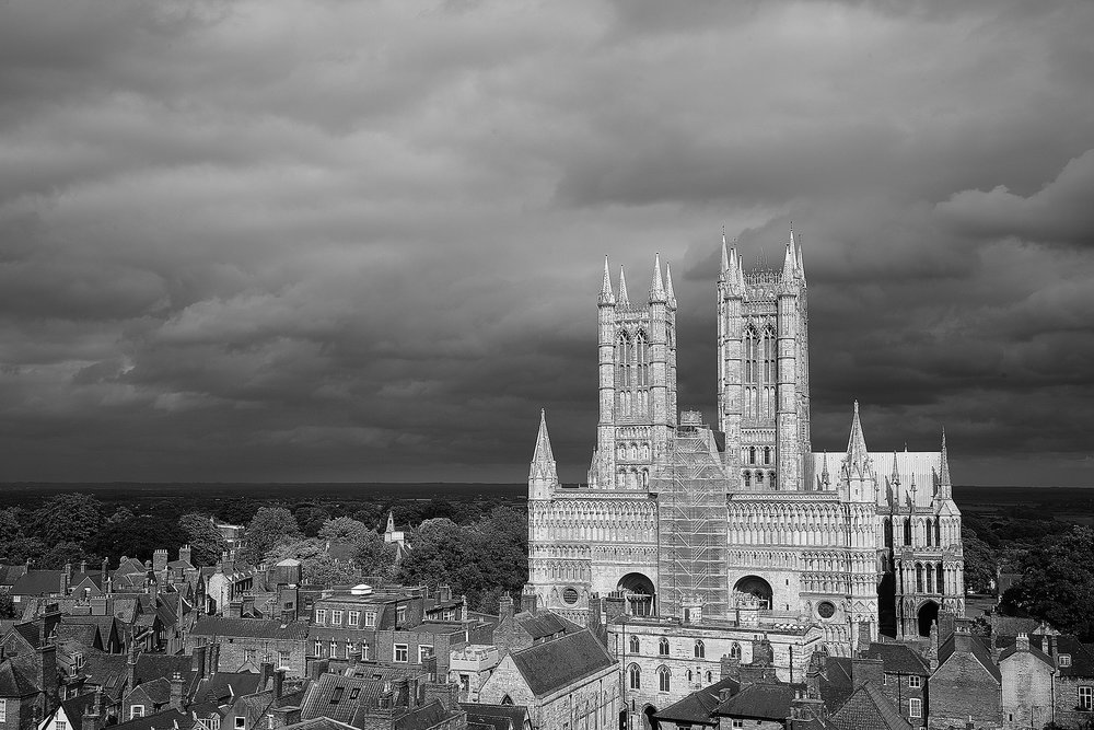 View of Lincoln Cathedral taken from the Castle Walls.  I was lucky here as the sky was really overcast and the shone threw on the other side and illuminated the cathedral.