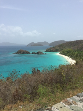 View of Trunk Bay from an outlook along North Shore Road
