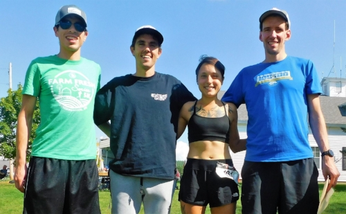 Left to right... Male 23k Winner Thomas Paquette, Male 50k Winner David Kilgore, Me, then RD Josh Dillingham.