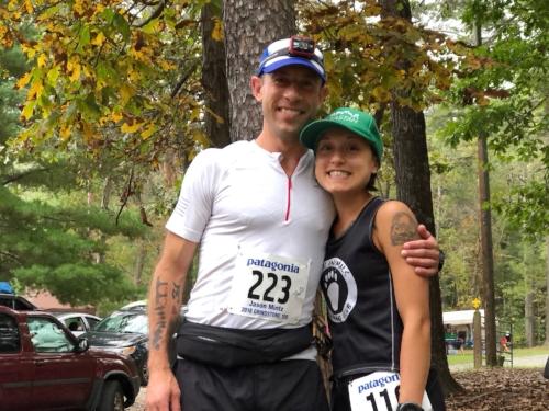 Jason and I right before the start. Cutest ultrarunning vegans ever. #SHVP
