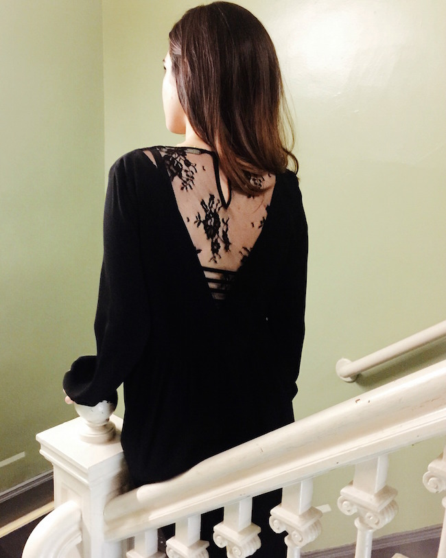 Zara Black Lace Back Dress - Louboutins and Love Fashion Blog by Esther Santer