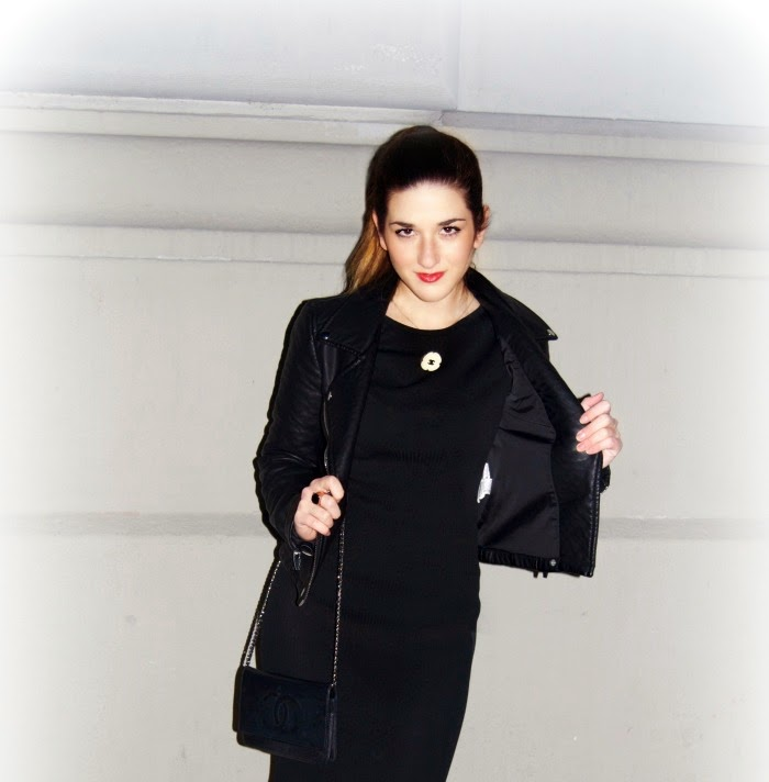Chanel black dress and Zara motorcycle jacket - Louboutins and Love Fashion Blog