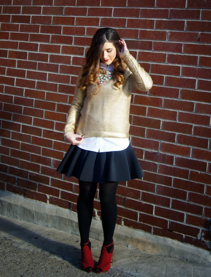 gold metallic sweater and white button down - Louboutins and Love Fashion Blog