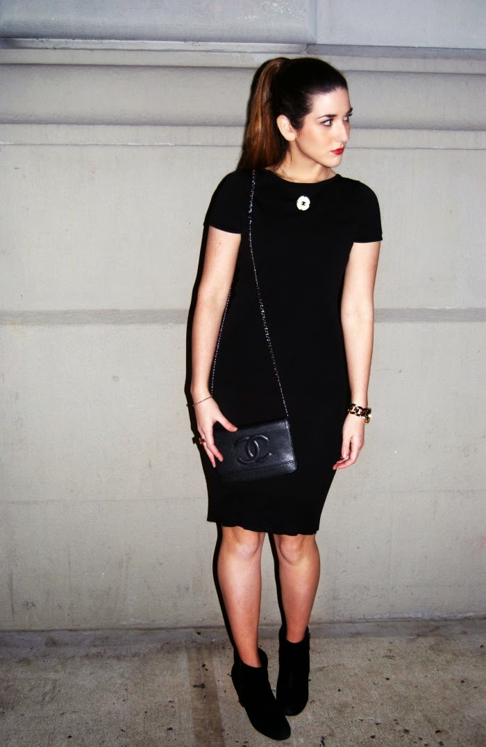 Chanel black dress and Zara motorcycle jacket - Louboutins and Love Fashion Blog