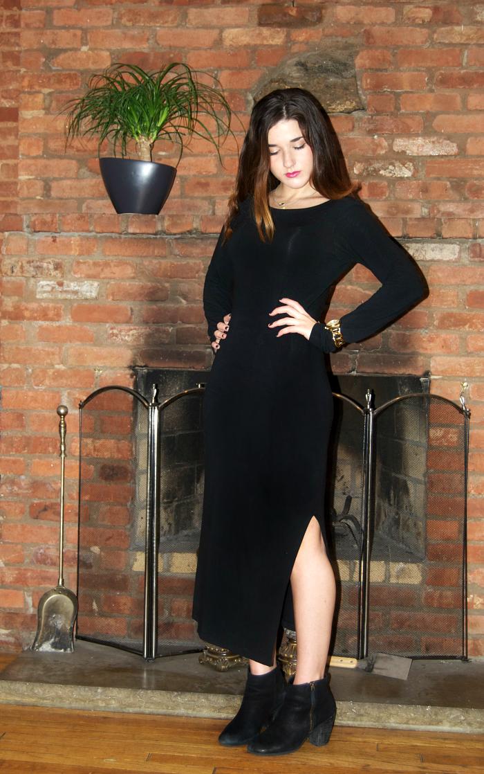 side slit black maxi dress - Louboutins and Love Fashion Blog