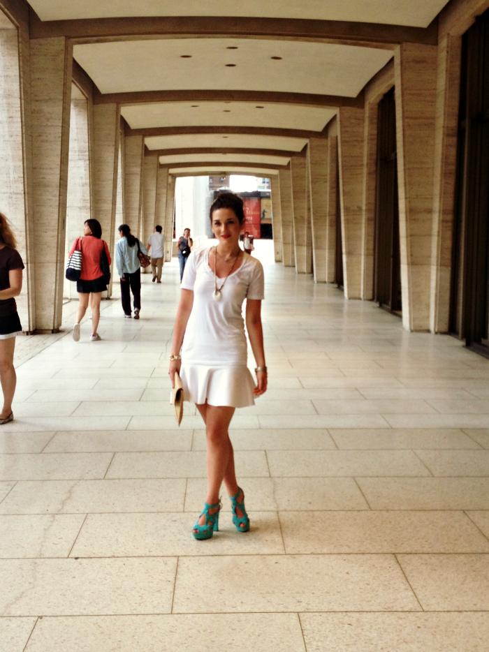 H&M skirt, Merona clutch, Zara teal heels