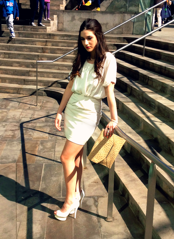 H&M white chiffon top, H&M white skirt, Merona clutch, Enzo Angiolini heels, H&M ring