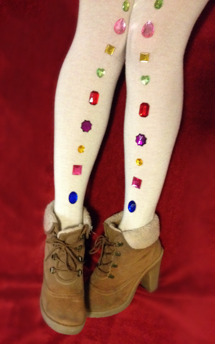 DIY bejeweled tights louboutins and love