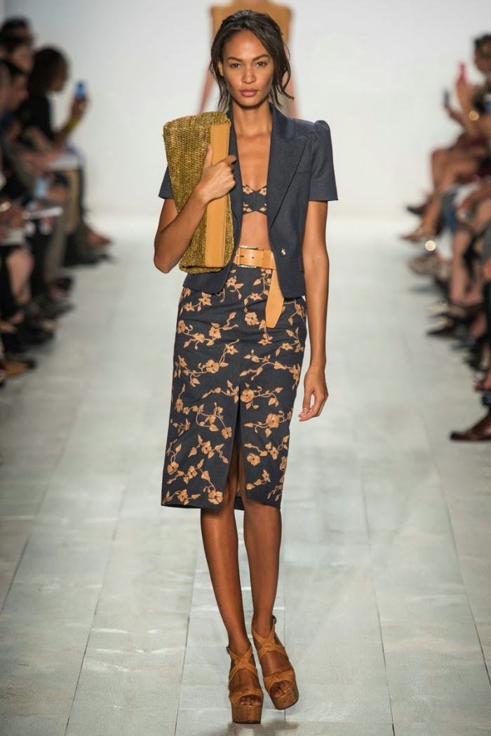 NYFW+Michael+Kors+Spring+Summer+2014+Fashion+Show+louboutins+and+love+fashion+blog+designer+celebrity+inspiration+beautiful+model+runway+white+sandals+bag+makeup+beauty+hair+floral+belt+collar+vest+trench+coat+bikini+skirt+shirt+navy+blue+bra+top.jpg