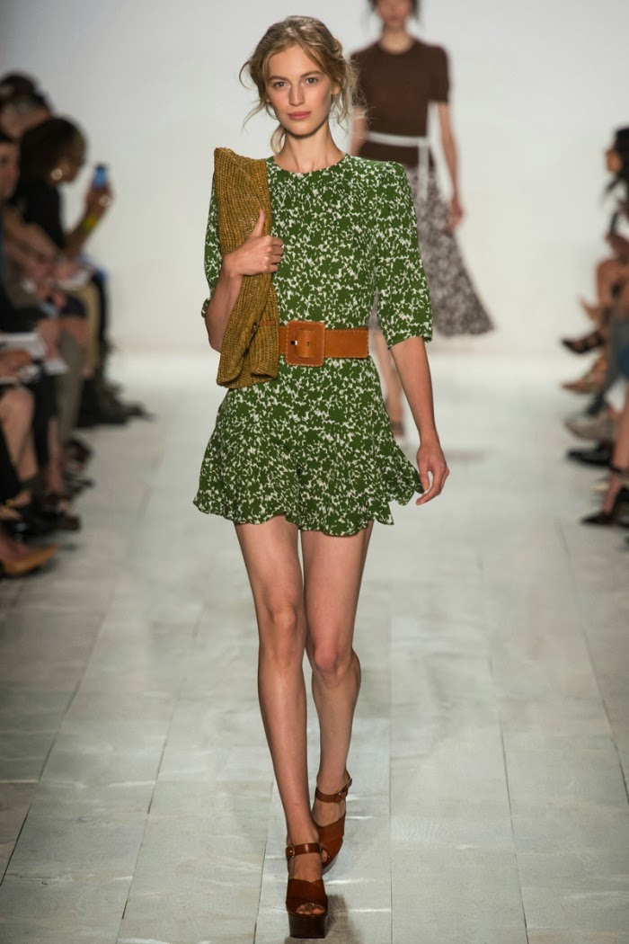 NYFW+Michael+Kors+Spring+Summer+2014+Fashion+Show+louboutins+and+love+fashion+blog+designer+celebrity+inspiration+beautiful+model+runway+white+sandals+bag+makeup+beauty+hair+floral+belt+collar+vest+trench+coat+dress+skirt+shirt+green+business+casual.jpg