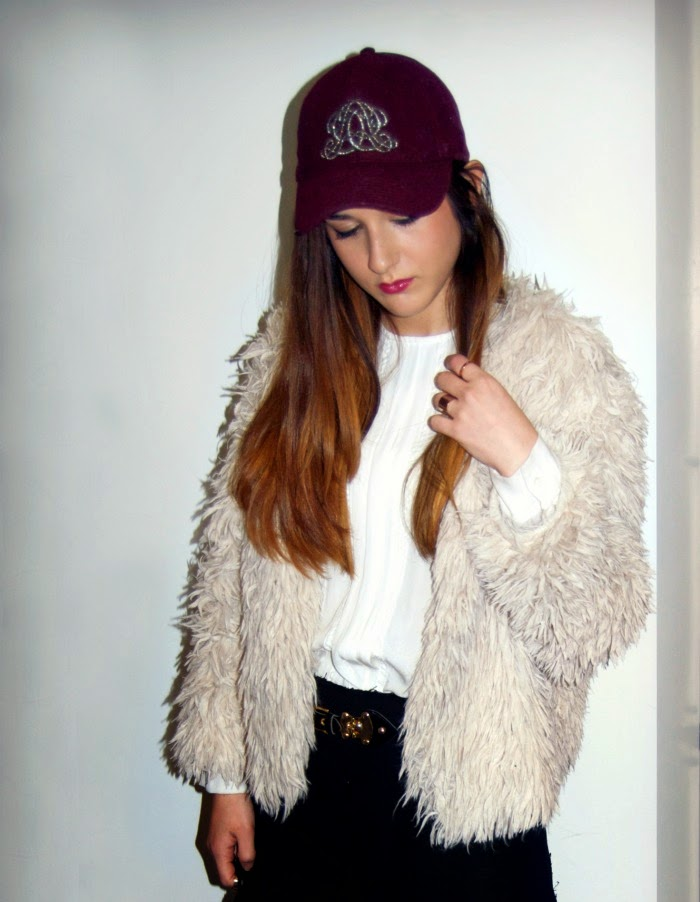 faux fur and baseball hats - Louboutins and Love Fashion Blog