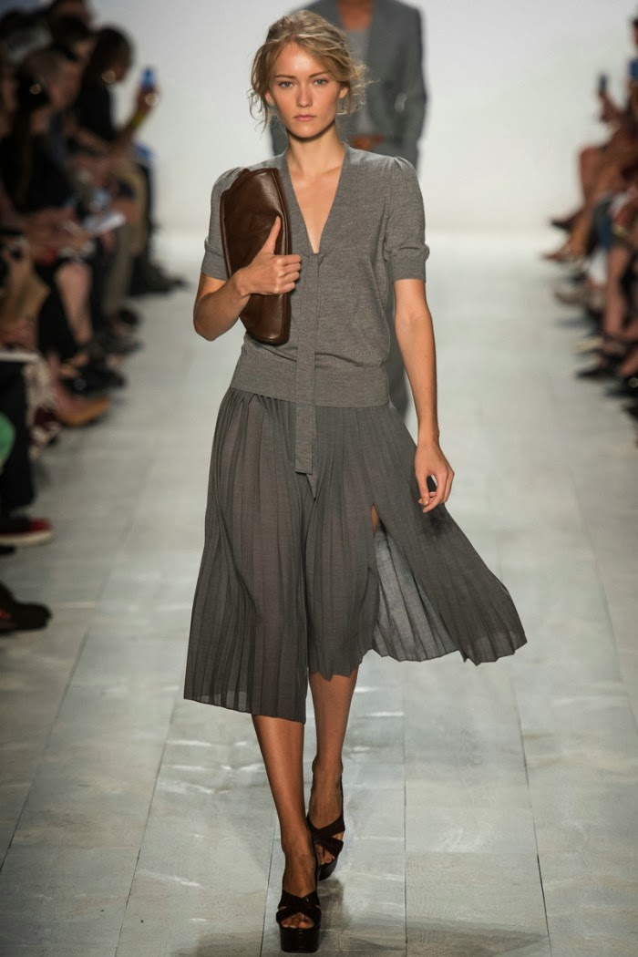 NYFW+Michael+Kors+Spring+Summer+2014+Fashion+Show+louboutins+and+love+fashion+blog+celebrity+inspiration+beautiful+model+runway+sandals+bag+makeup+beauty+hair+floral+belt+collar+vest+trench+coat+bikini+dress+skirt+shirt+grey+pleats+business+casual.jpg