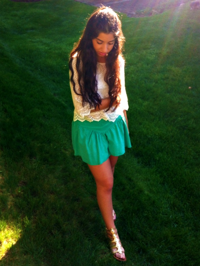 green+skort+and+lace+top+louboutins+and+love+fashion+lifestyle+blog+style+trends+summer+spring+skirt+shirt+shoes+sandals+gold+metallic+2013+eyelet+hair+model+brunette+beautiful+pretty+new+york+photoshoot+photography+closet+inspiration+outfit+dress+.png