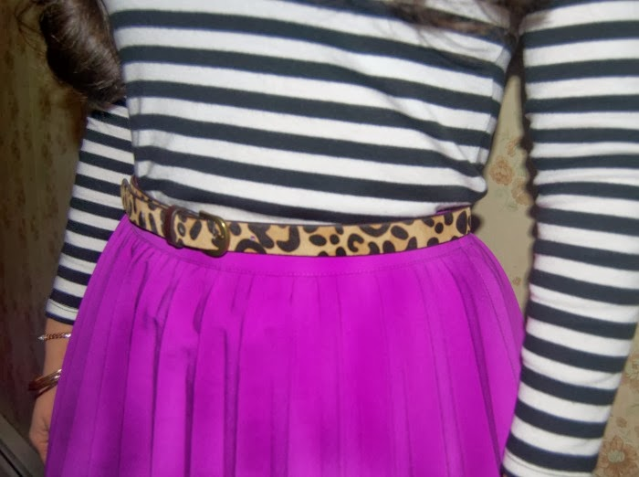 fuchsia pleats, leopard belt, and Jcrew jewels - Louboutins and Love Fashion Blog