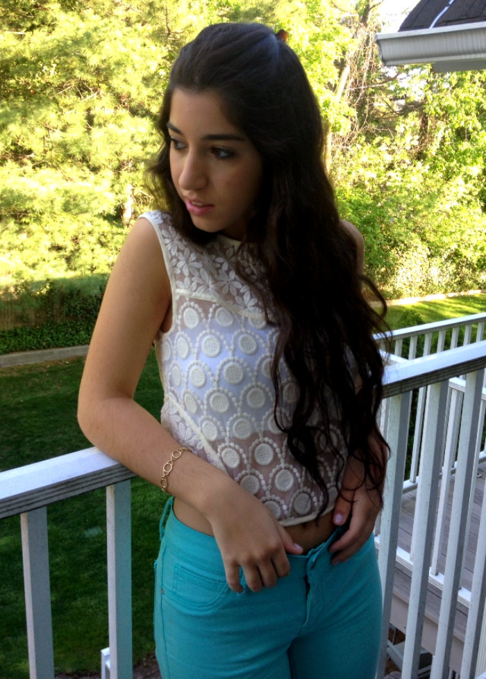Oasis lace top, Nordstrom white bandeau, Gap blue pants