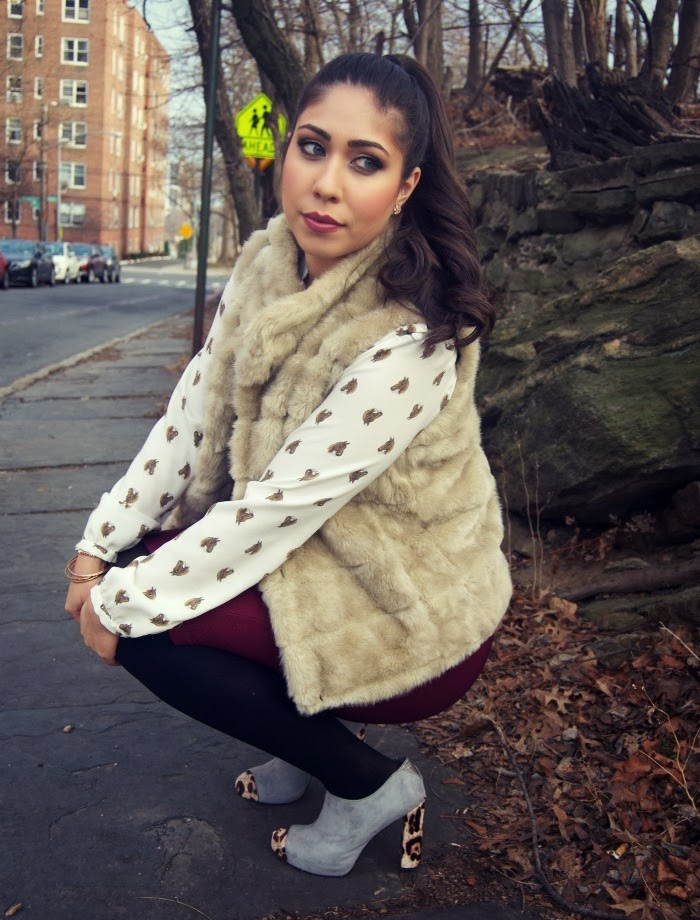 leopard accents and fur vest - Louboutins and Love Fashion Blog