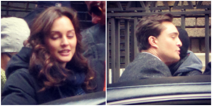 Leighton Meester and Ed Westwick on the Gossip Girl set