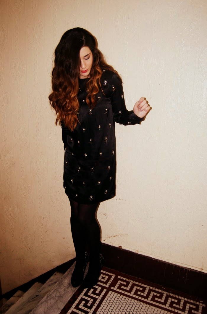black beaded dress and ring overload- Louboutins and Love Fashion Blog
