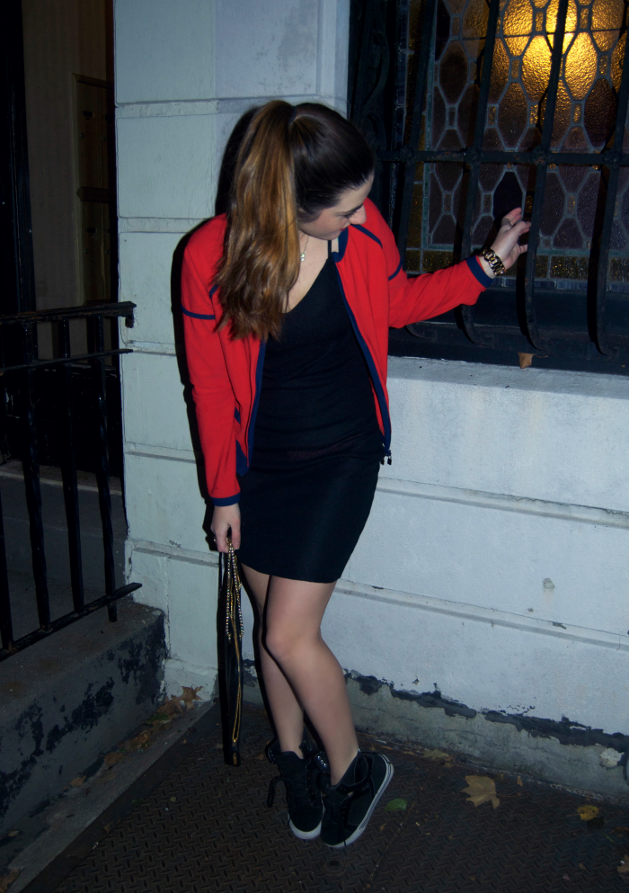 little black Chanel dress and red jacket - Louboutins and Love Fashion Blog