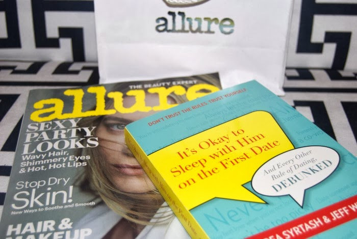 Allure gift bag and Andrea Syrtash's book