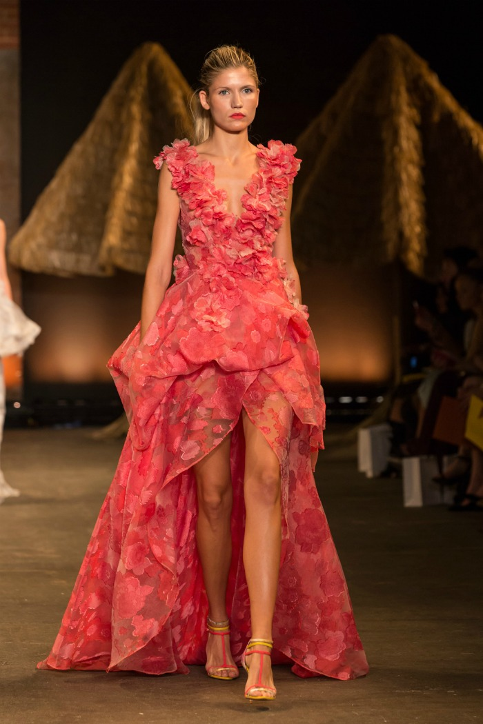floral organza deep v gown with petal appliqué