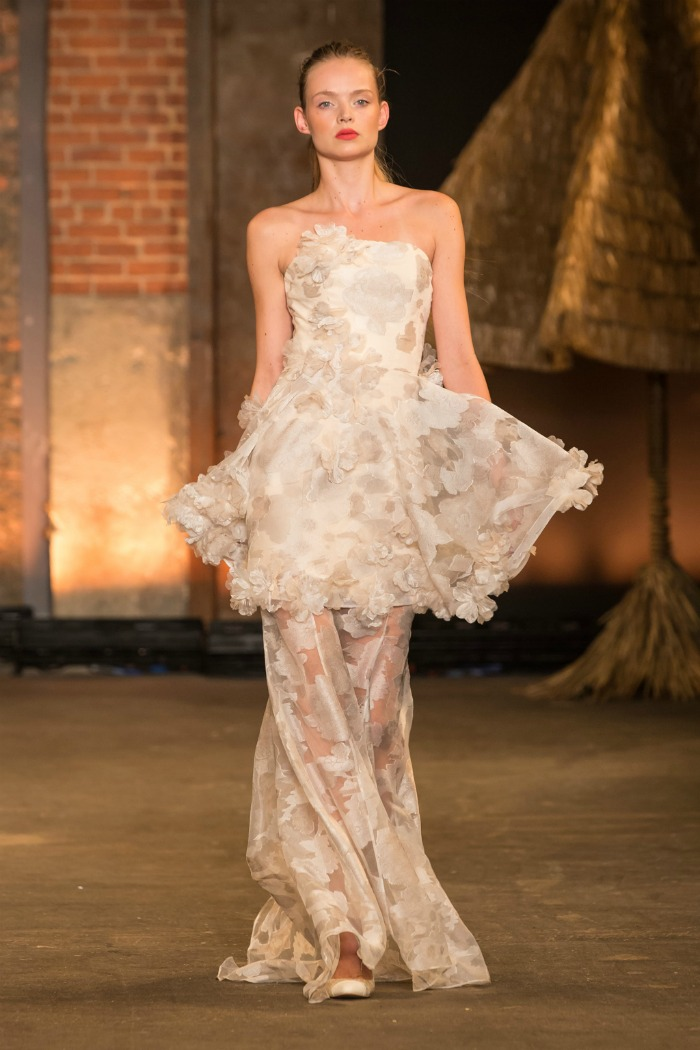 floral organza strapless trumpet gown with petal appliqué