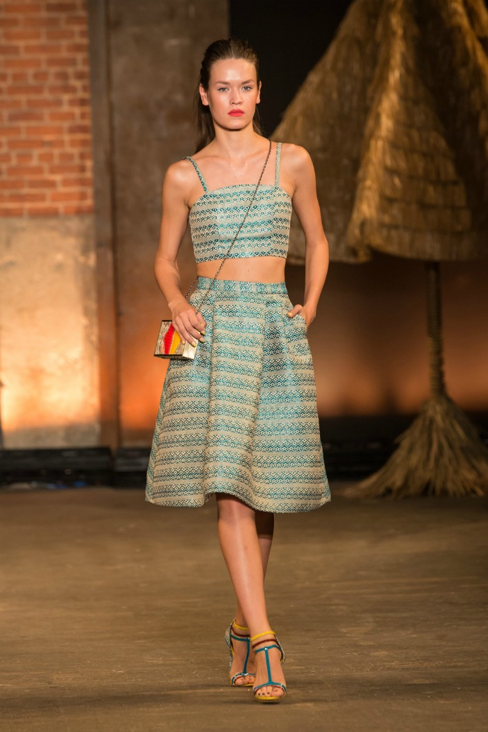diamond raffia crop top and A-line skirt