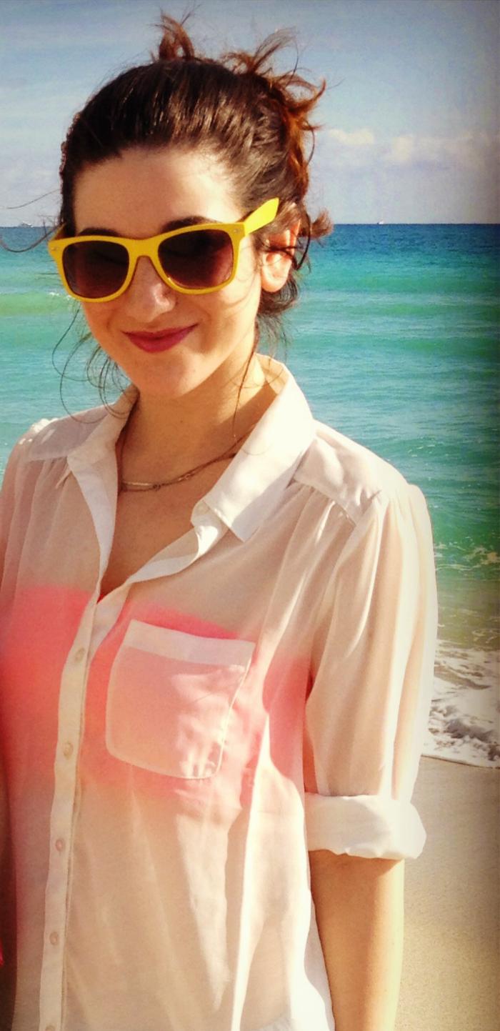 Nordstrom Frenchi white chiffon top, VS pink bandeau, Zara jean skort
