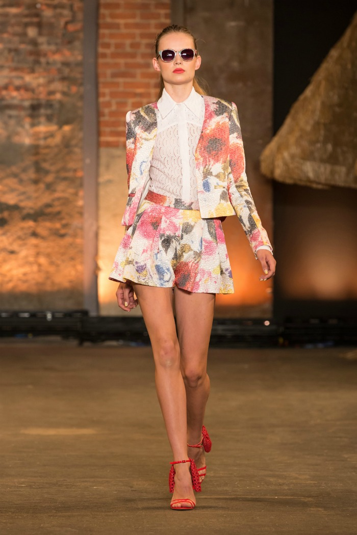 floral brocade blazer and pleated short