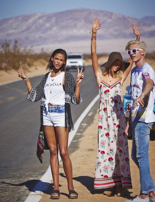 H&M Loves Coachella Collection Louboutins and Love Fashion Blog Esther Santer girls models modern hippie style music festival collaboration hat crochet floral headband peasant crop tops shorts pants maxi dresses colorful sunglasses accessories sandals.jpg