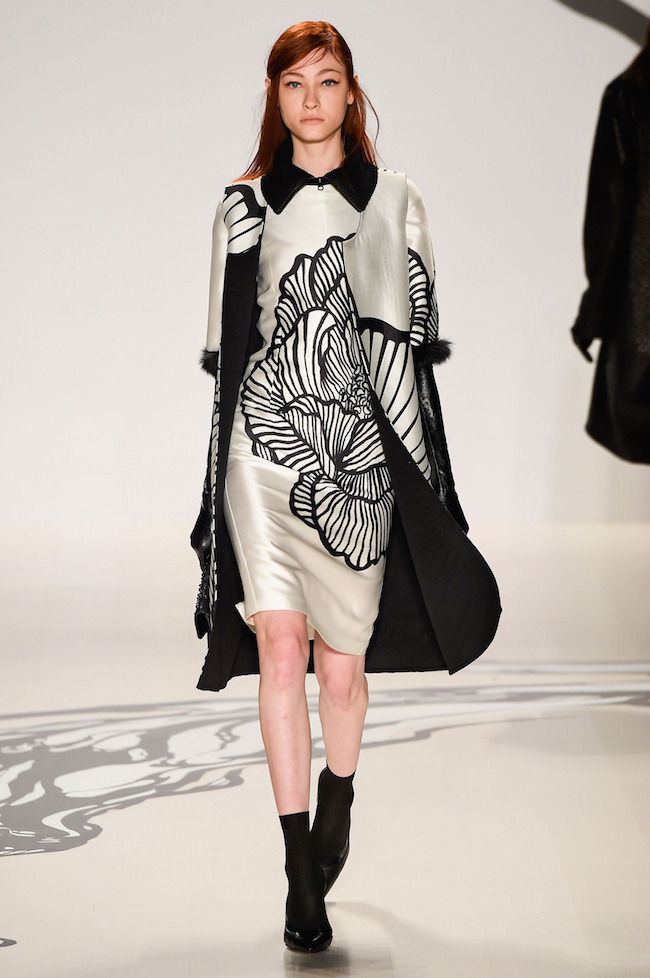 NYFW Lie Sangbong Fashion Show Fall:Winter 2015 Louboutins and Love Fashion Blog Esther Santer runway models dress sweater wool coat tailored skirt collar turtlneck winter style women wine beige black white neutral MBFW floral booties jacket boots red.jpg