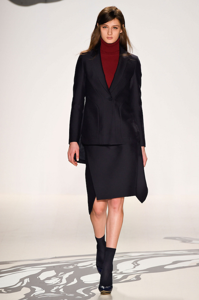 NYFW Lie Sangbong Fashion Show Fall:Winter 2015 Louboutins and Love Fashion Blog Esther Santer runway models dress sweater wool coat tailored skirt collar turtlneck winter style women wine beige black white neutrals MBFW Fashion Week jacket boots silk.jpg